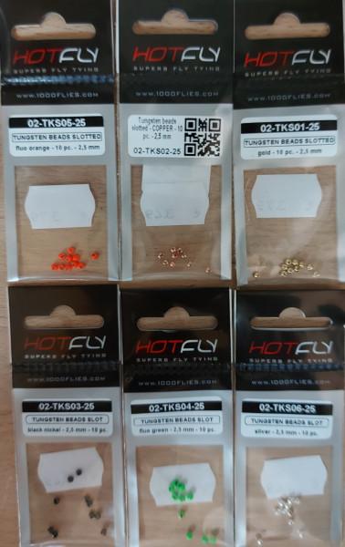 Tungstenperlen 2,5mm geschlitzt